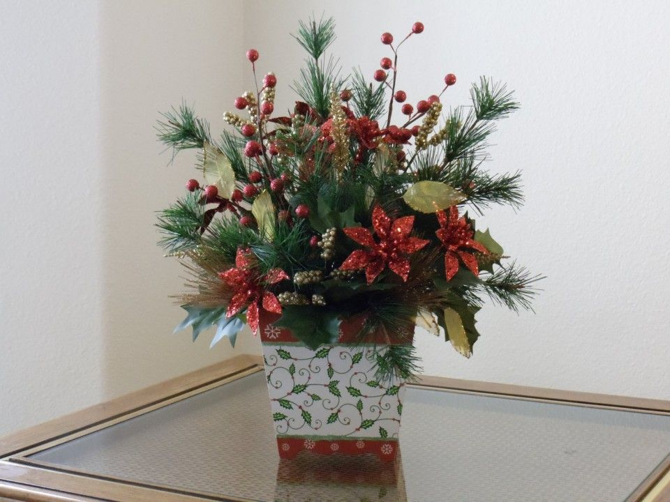 Homemade Christmas Fake Flower Arrangements Poinsettia Idea for - christmas floral decorationswhere to buy christmas decorations