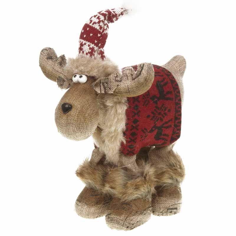 reindeer moose standing christmas decoration with red coat REDUCED - moose christmas decorations