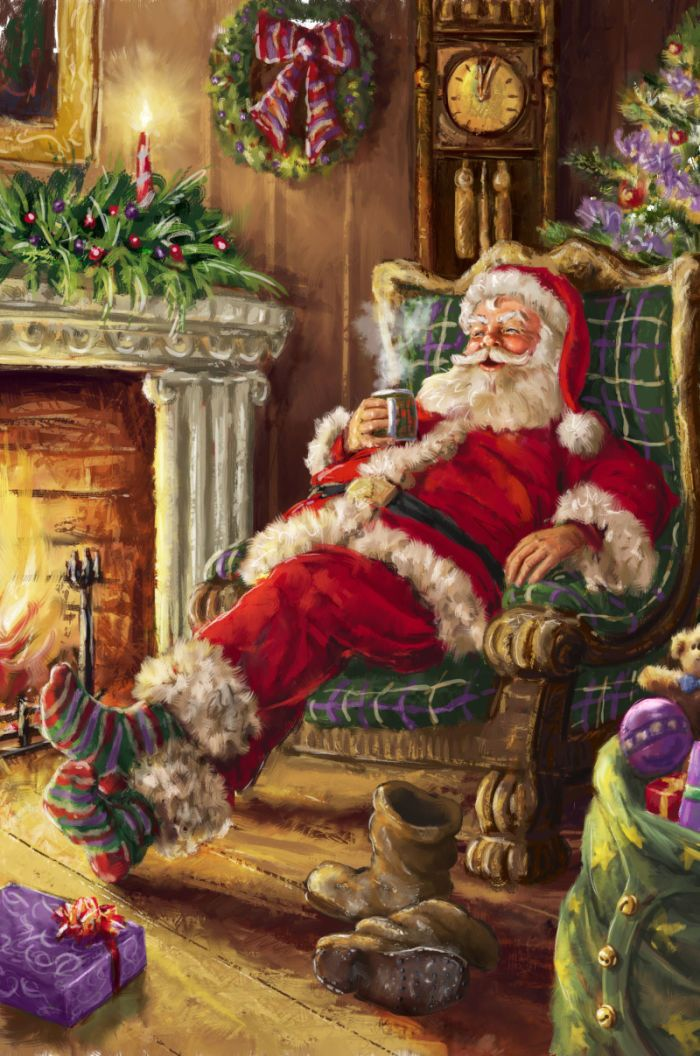 Pinterest Christmas Vintage Santa Claus Needs To Relax After Delivering All Of Those