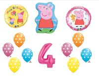 12pc Asst Peppa Pig Mylar Balloons 4th Birthday Party ...