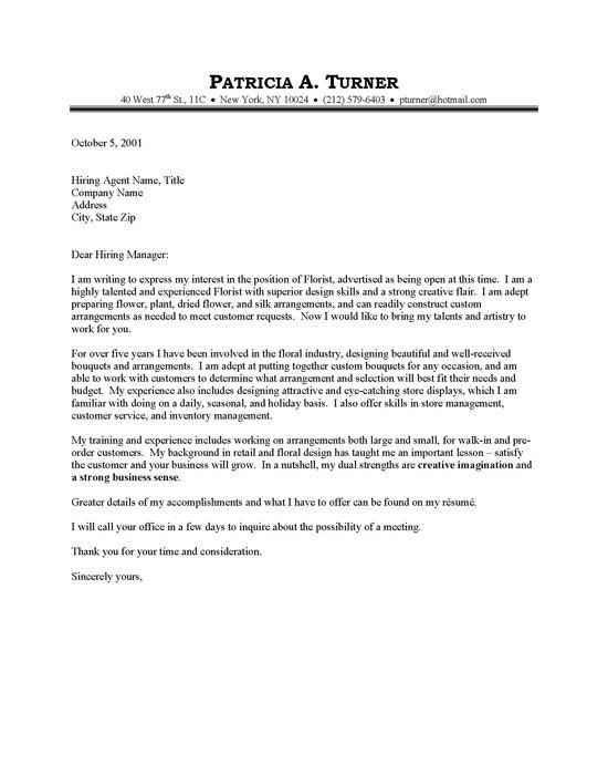 Just Basic Cover Letter Examples Florist Cover Letter Sample - easy cover letter examples