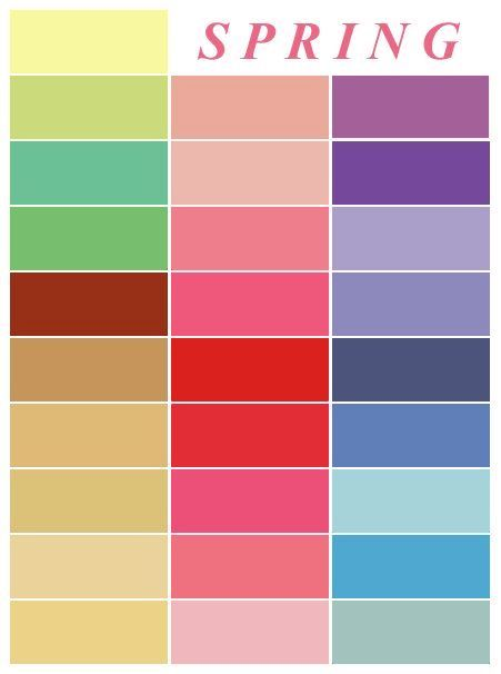 Spring color palette - inspiration for outfits and home decor - home decor color palettes