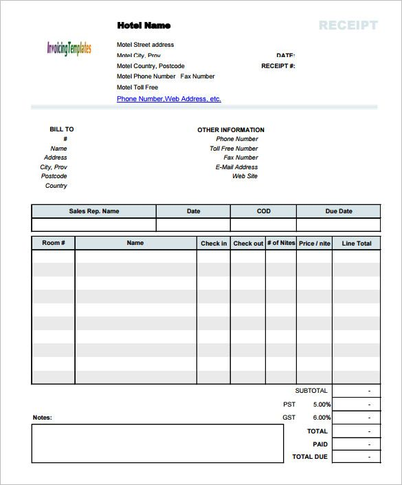 Hotel Invoice Receipt Template Document , Invoice Template for Mac - hotel invoice
