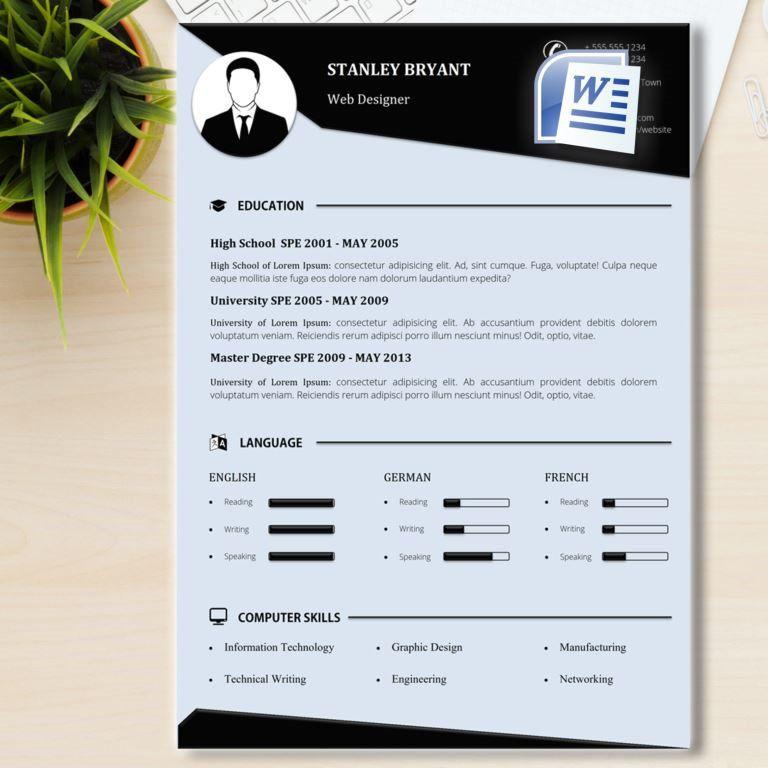 Modern Resume Template + Cover Letter \/ Word CV Template (US - creative professional resume templates