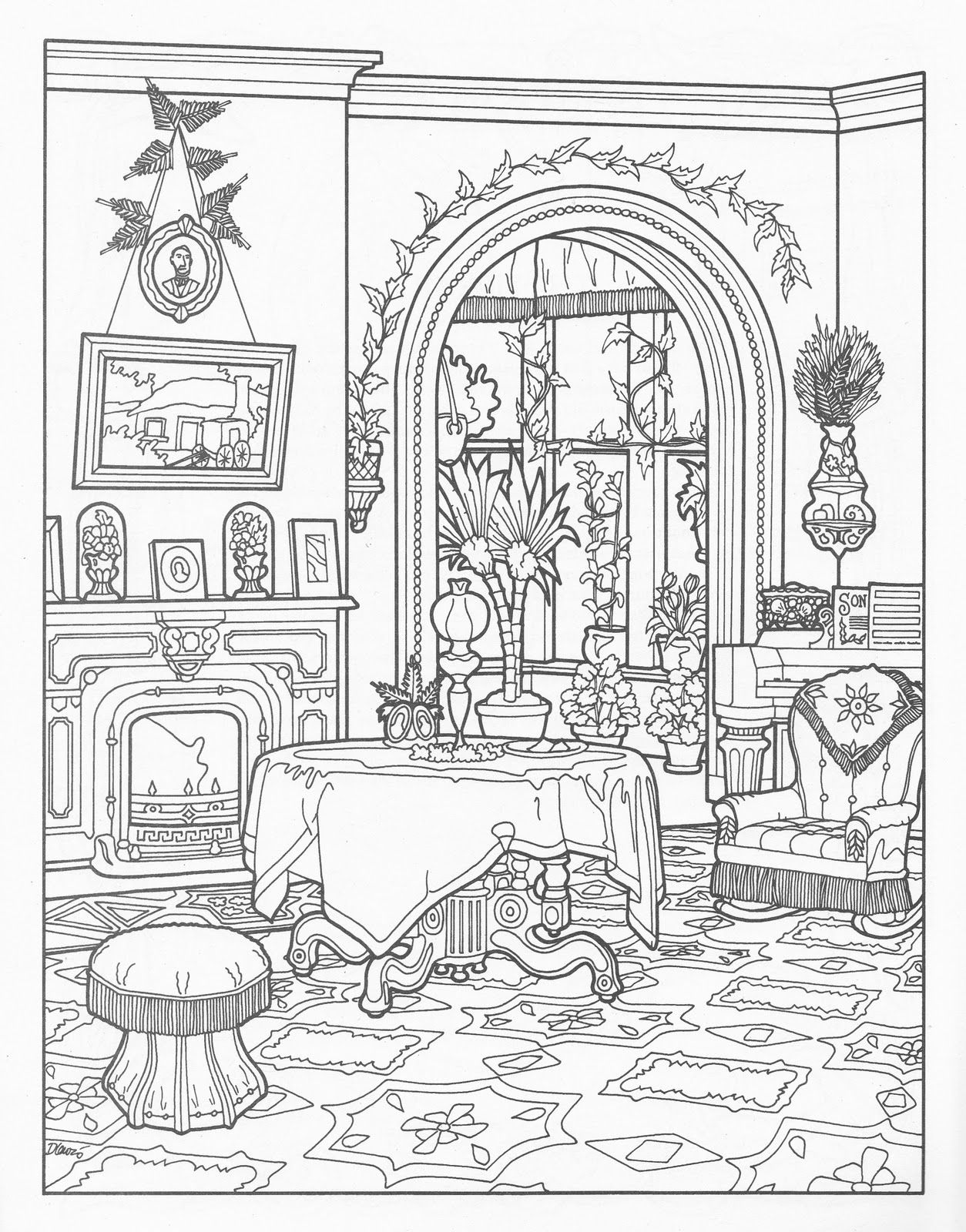 House room coloring page