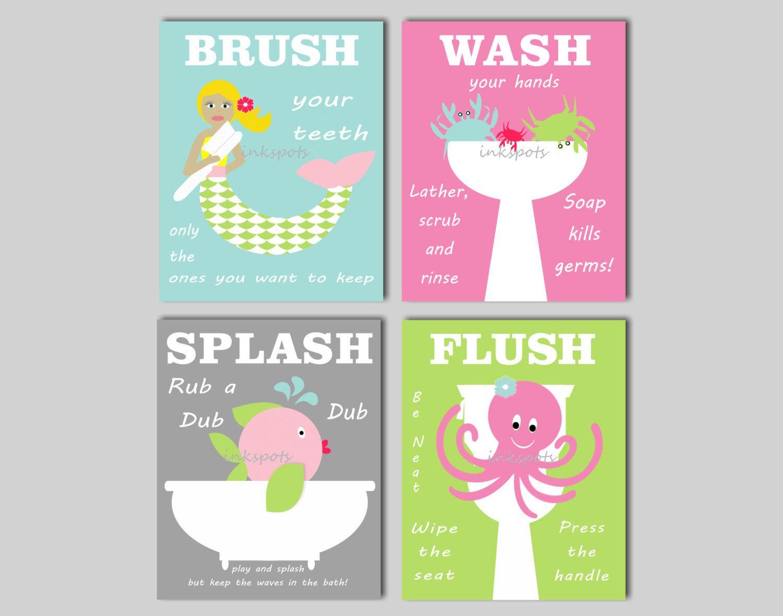 Mermaid bathroom wall art kids bathroom prints brush your teeth bath rules prints mermaid bathroom nautical bath choose colors kb08 bathroom