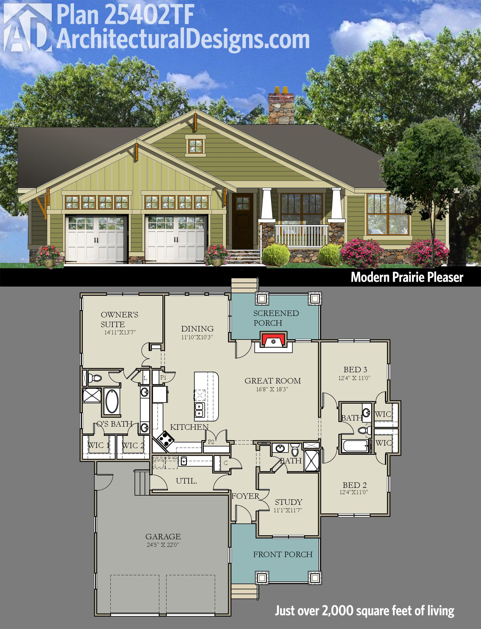 2000 Sq Ft Modern House Plans Plan 25402tf Modern Prairie Pleaser Bungalow Square