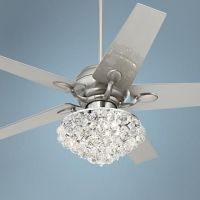 "52"" Casa Optima Brushed Steel Crystal Ceiling Fan ..."