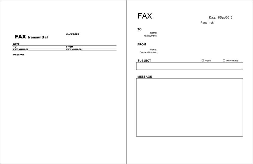 fax sheet cover page