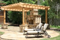 Flagstone Patio with Pergola and Flagstone Wrapped Post ...