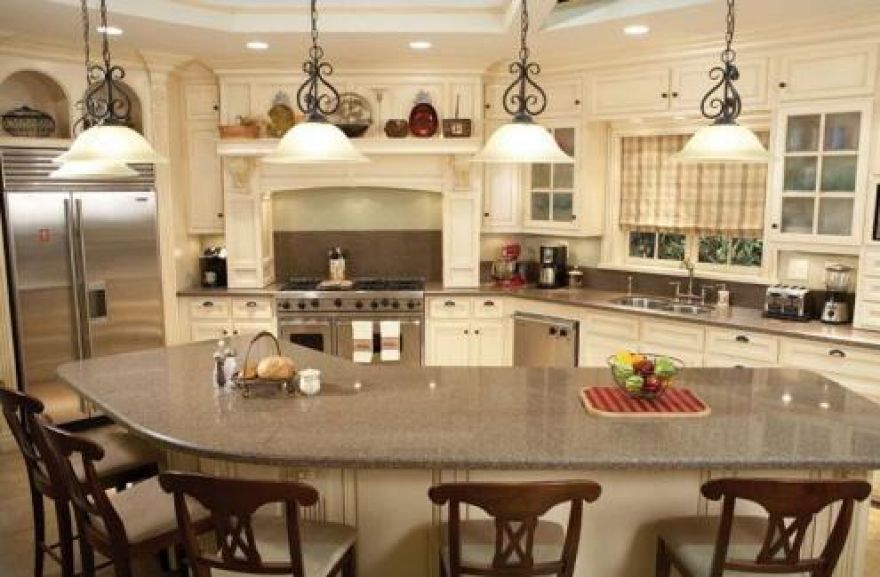 Curved L-shaped breakfast bar Interior design for Unique Kitchen - kitchen islands designs