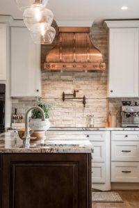 unique kitchen interior design white cabinets copper hood ...