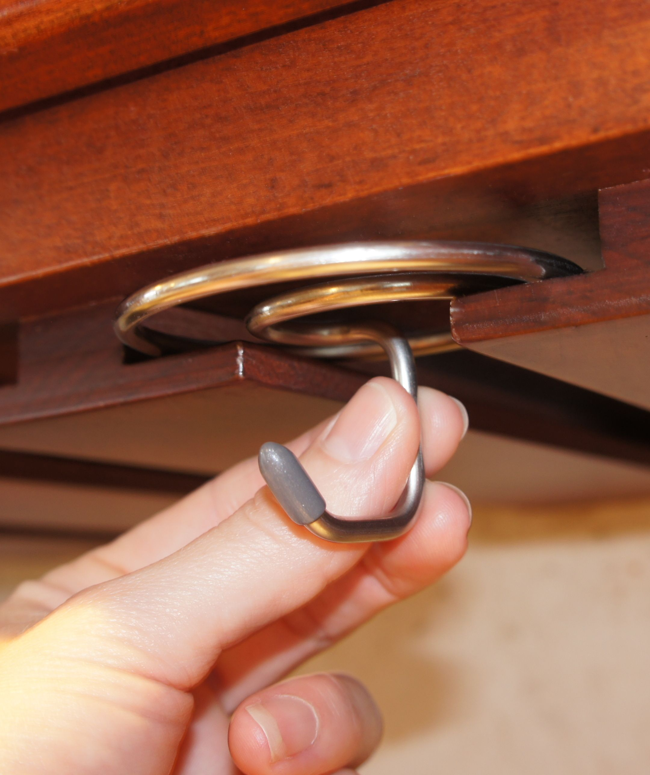 Slide On the Hook into a stemware wine glass rack for