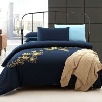 Navy Blue and Yellow 100% Cotton Bedding Sets