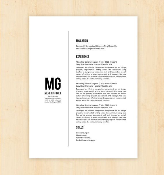 Resume Template \/ CV Template - The Meredith Grey Resume Design - professional document templates