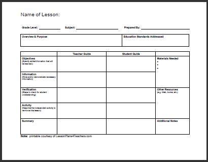 Daily Lesson Plan Template # 1 wwwlessonplans4teachers - art lesson plans template