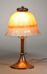 , STEUBEN SHADE ON ROYCROFT BOUDOIR LAMP BASE, COPPER AND