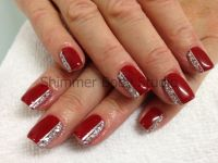 Gel nails, red nails, red gel, silver glitter nail art by ...