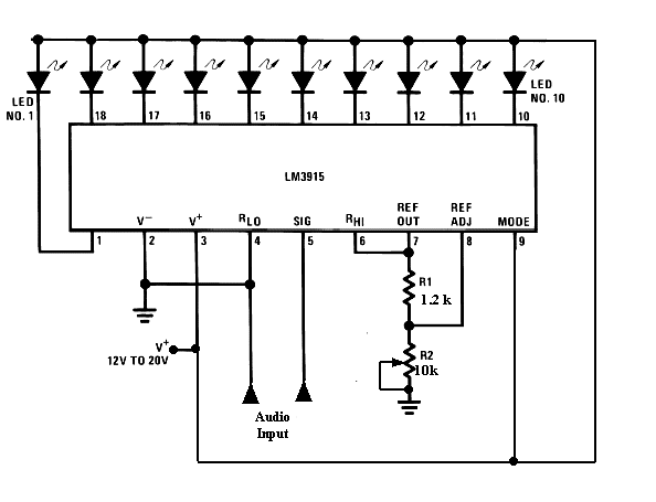 audio mixer vu meter circuit diagram