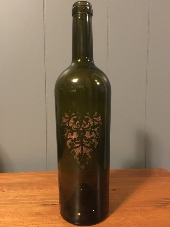 Rustic Heart Painted Wine Bottle Decoration $800 on Etsy Wine - unique home decorations