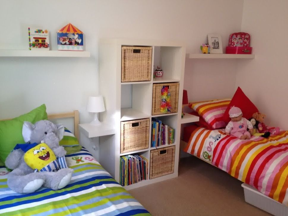 Shared room good idea for girls and boys, very simple to do - boy and girl bedroom ideas