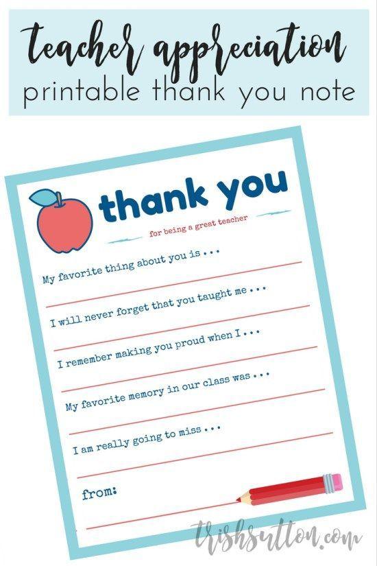Teacher Appreciation Week Printable Thank You Note Printable - thank you note to employee