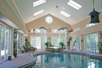 Interior Splendid Spacious White Cream Indoor Pool ...