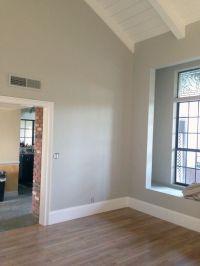 Wall color BM Brushed Aluminum. Trim color BM Chantilly ...