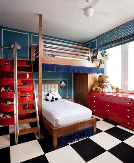 14b blue red black white checkerboard floor kids room childs - unisex bedroom ideas