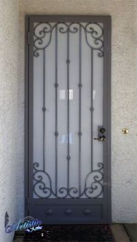 Wrought Iron Security Screen Door with scrolls and a ...