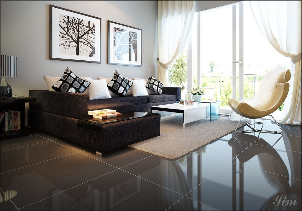 Modern Living Room With A Dark Couch1 Warm and Cozy Rooms Rendered - cozy living room colors
