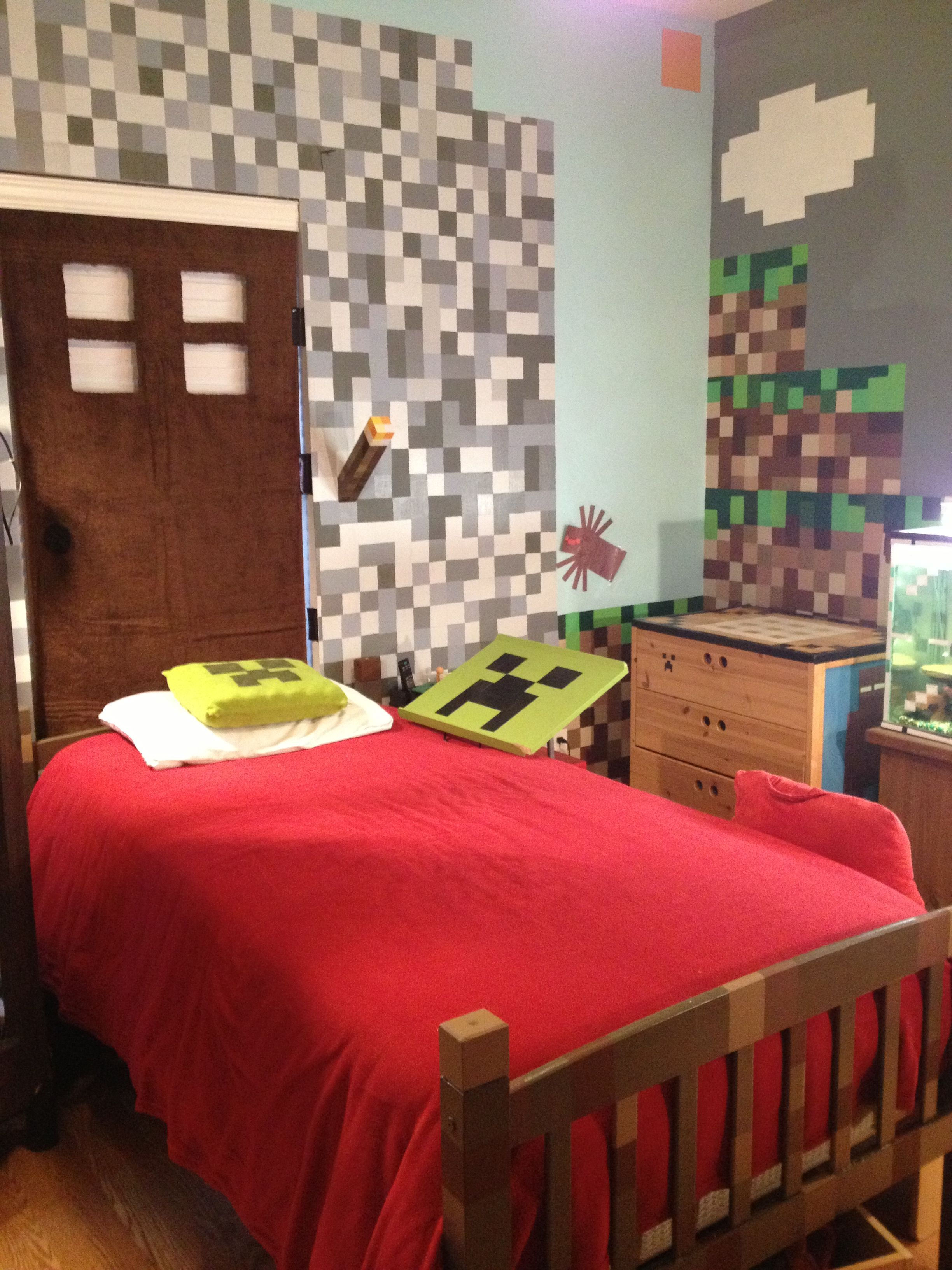Stuff For Room Decor Minecraft Bedroom Could Do Pixel Walls With Vinyl Kid