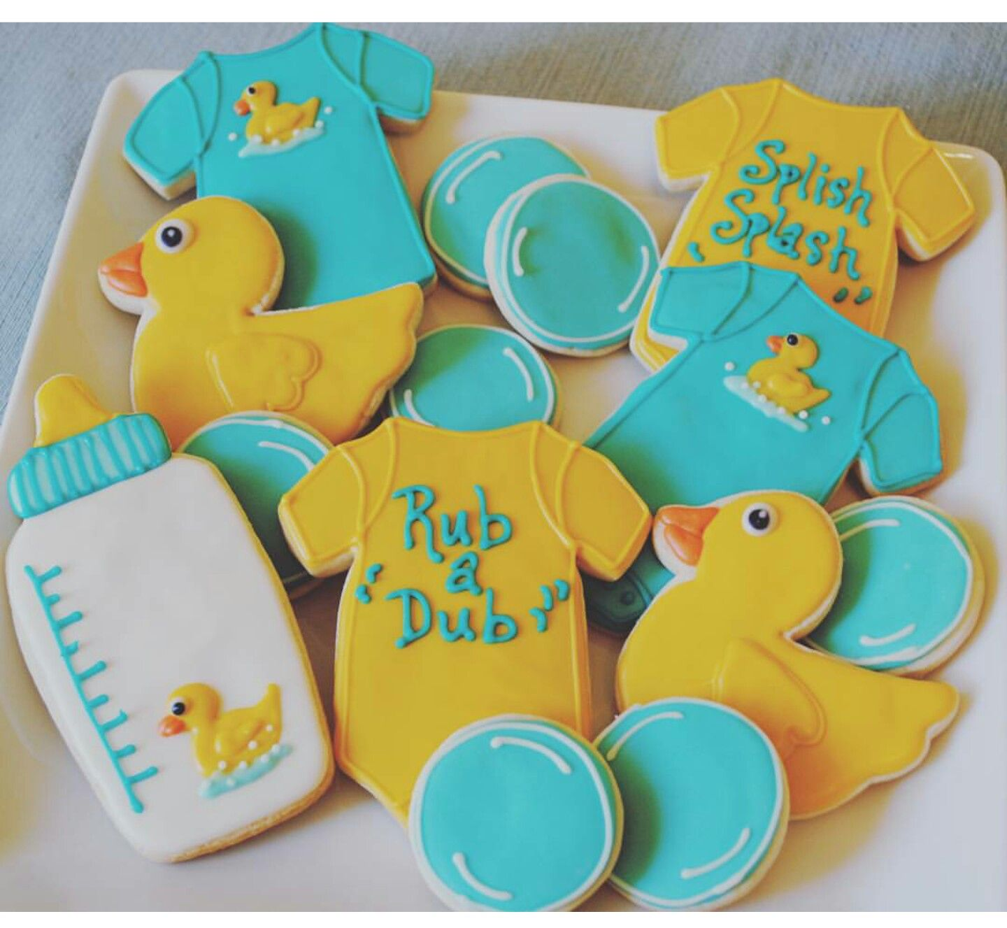 Rubber ducky baby shower cookies