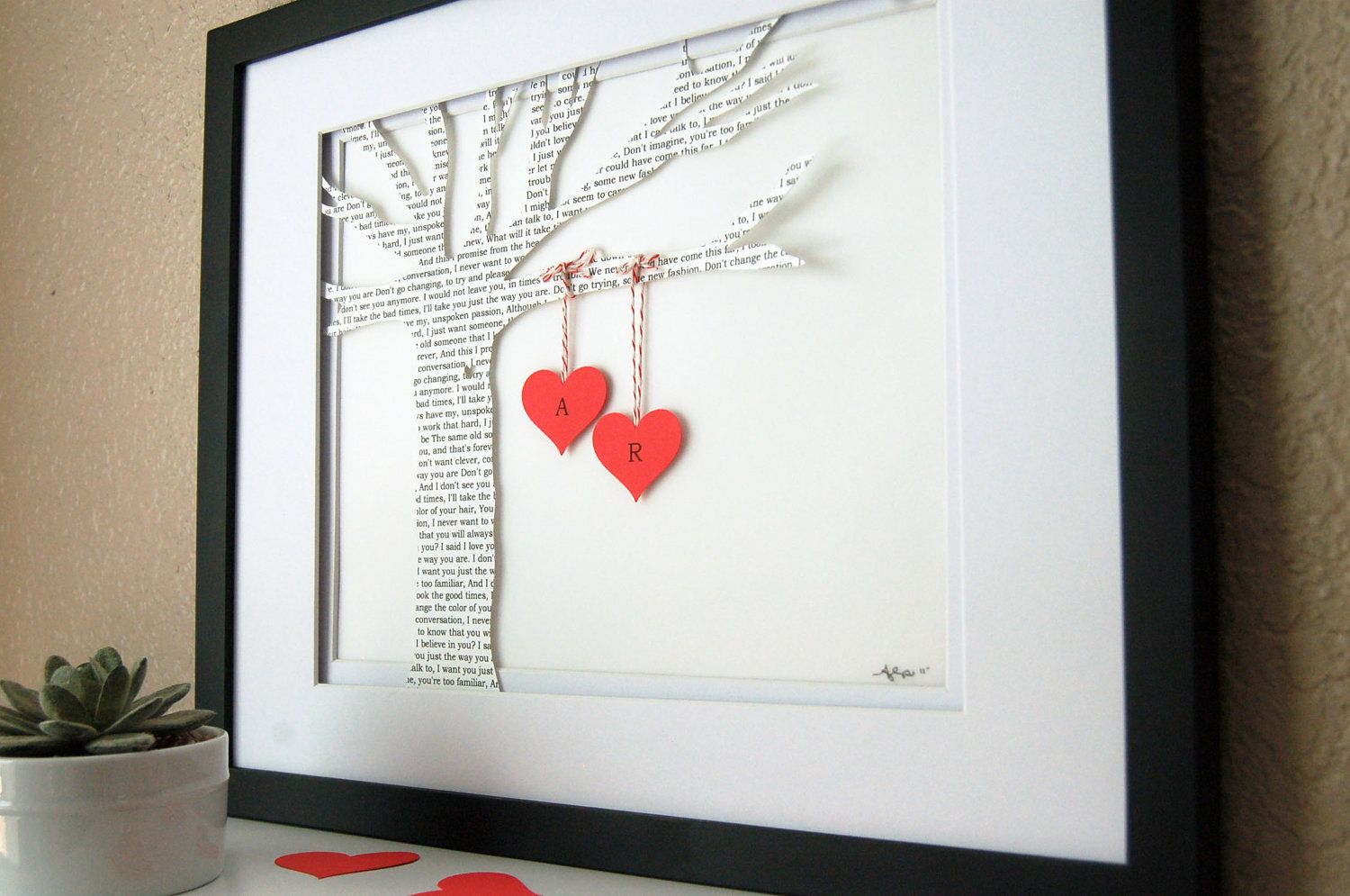 1st wedding anniversary gift First Anniversary Gift Personalized 3D Paper Tree made with song lyrics love letter