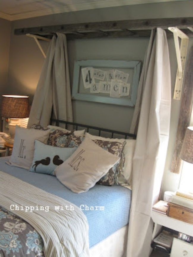 Old Ladder Canopy + other upcycled ladders Check out this bed - living room blanket storage