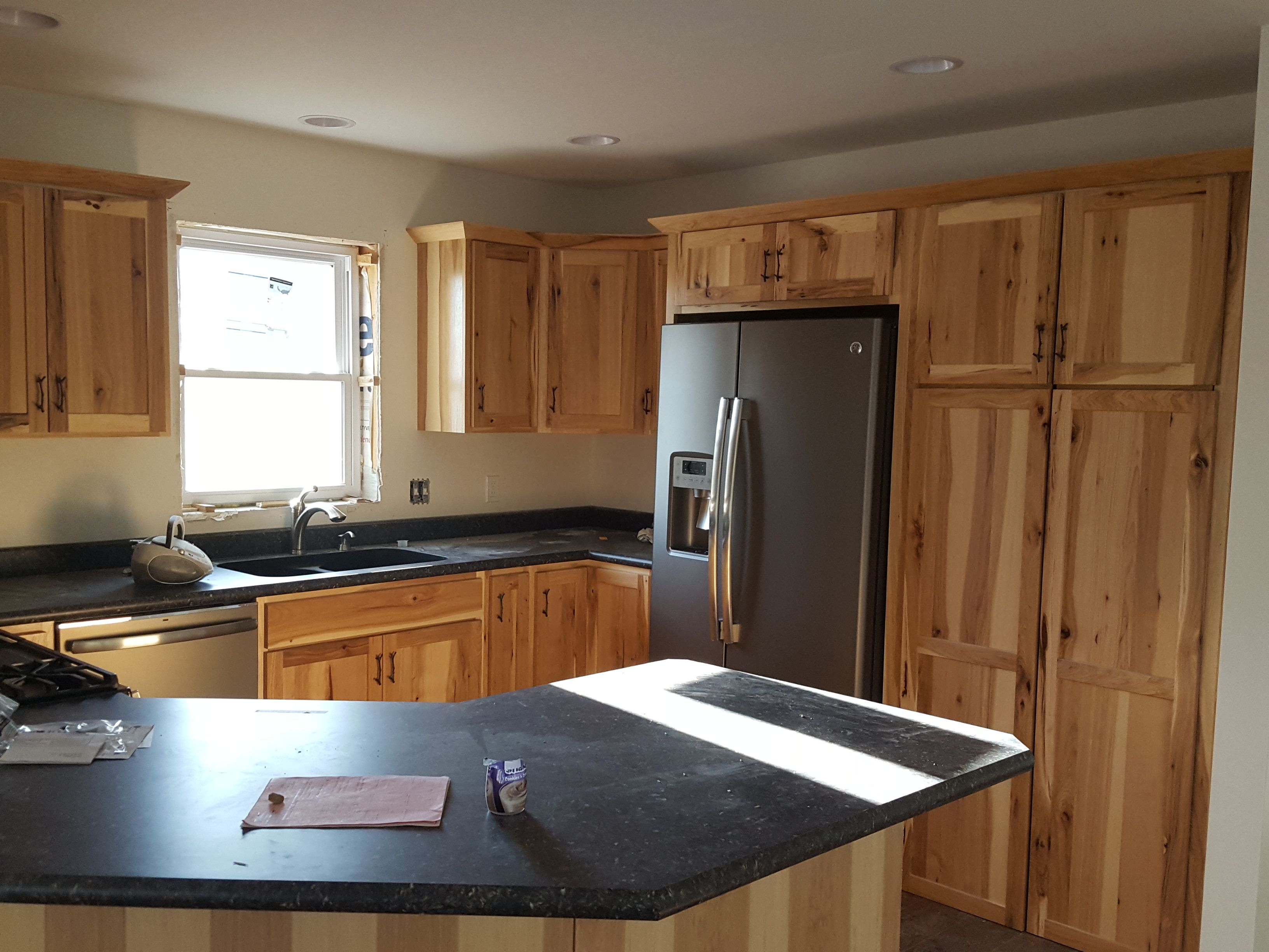 Denver Hickory Kitchen Cabinets Rustic Hickory Cabinets Black Laminate Countertops Ge