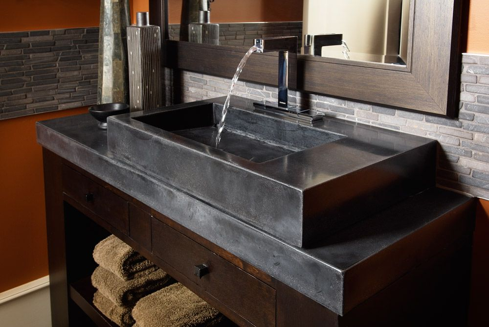 Mesmerizing Concrete Bathroom Sink Ideas With Wooden