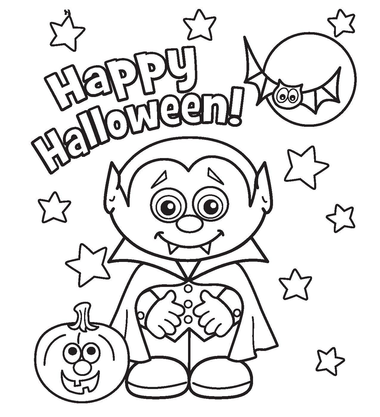 Print little vampire printabel halloween coloring pages or