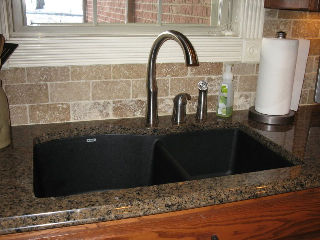 Kitchen Faucets For Granite Countertops Tropic Brown Granite With Black Silgranit Sink Kitchen