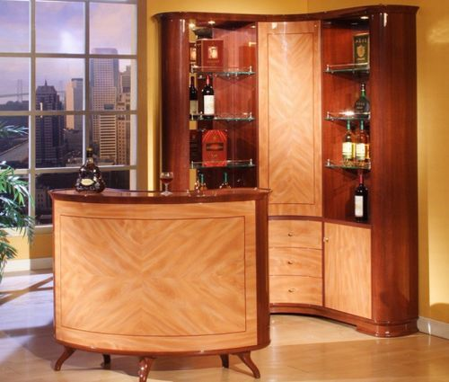 classy bar interior design with counter chair and wine cooler - home mini bar ideas