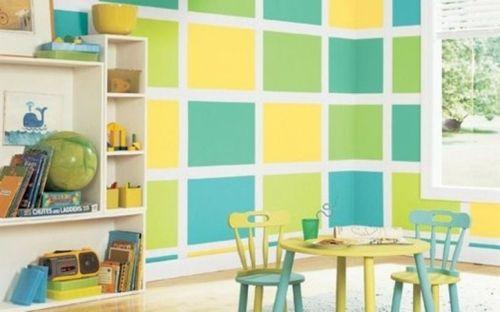 modernes Kinderzimmer-Wandgestaltung blau grün gelb Krümel - wandgestaltung farbe kinderzimmer