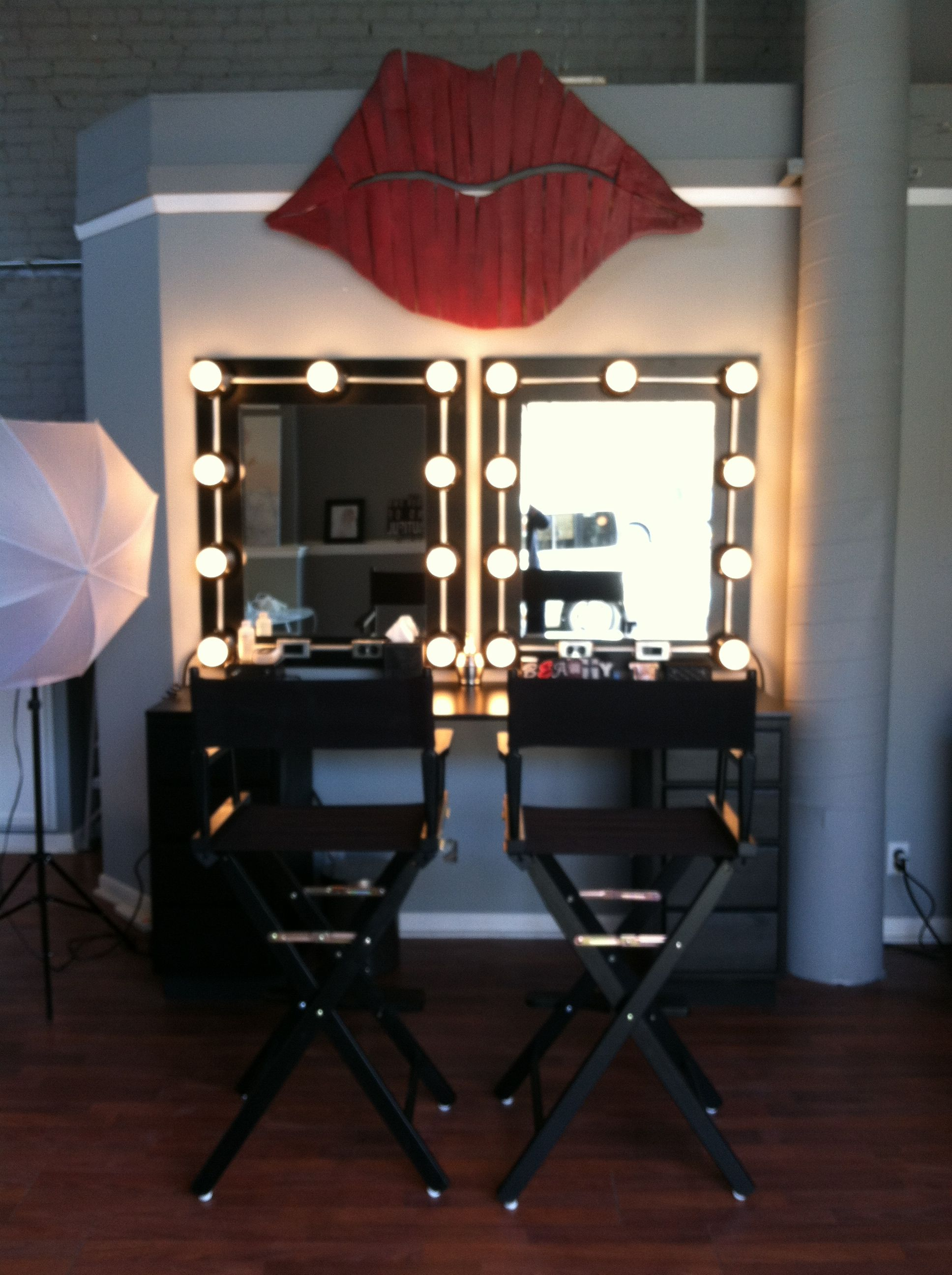 Make Up Studio Chairs Makeup Studio Directors Chairs Hollywood Lights Red