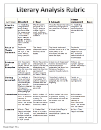 Literary Analysis Handouts | Paragraph, Rubrics and Outlines