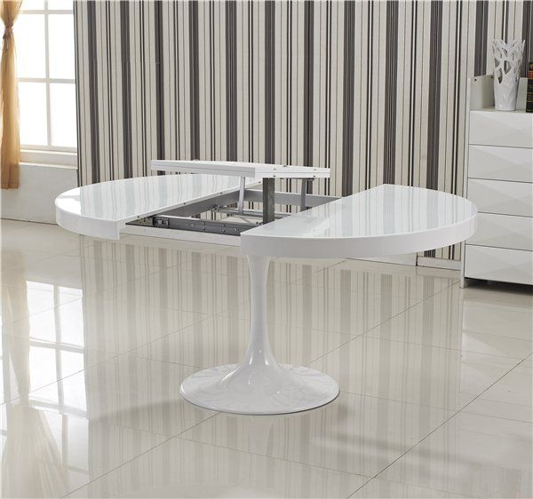 Table Ronde Extensible Tulipe Blanche Salons Tables And - Table Ronde Blanche Pied Central