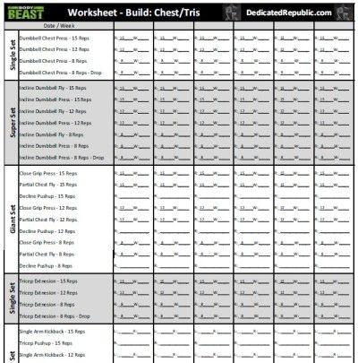 Body Beast Worksheets (Dedicated Republic) BodyBeast Pinterest - beast workout sheet