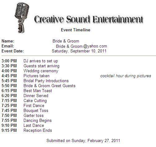 wedding dj timeline template