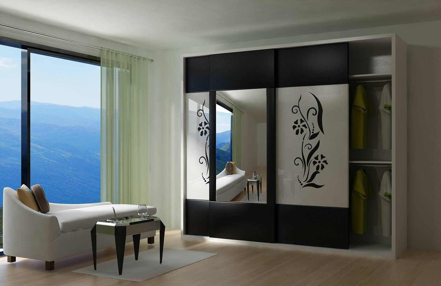 Modern wardrobe with sliding door and large mirror idea feat luxury chaise lounge plus black side