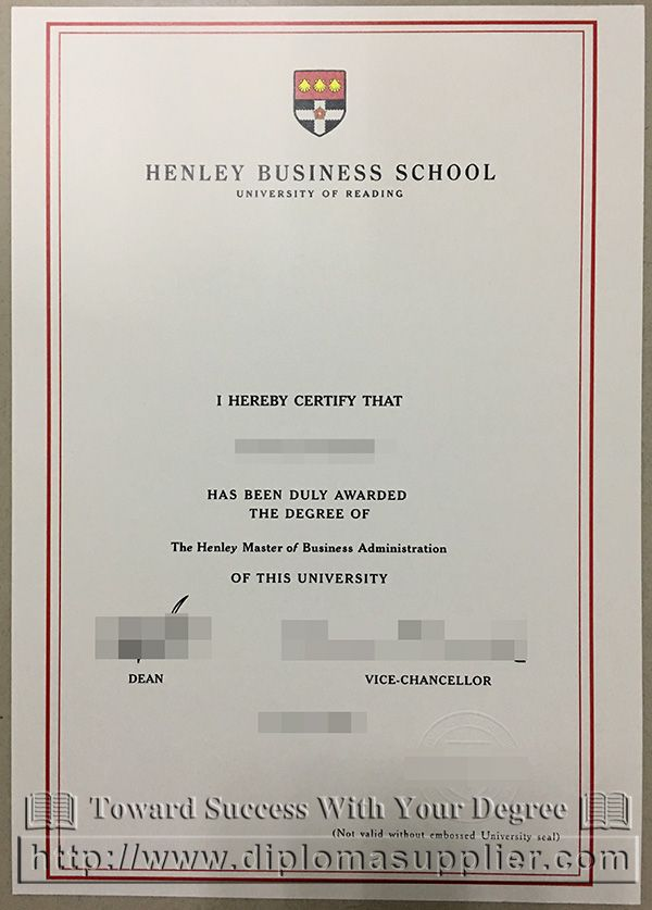 Henley Business School degree, University of Reading degree, fake - sample school certificate