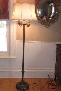 Antique Rembrandt Torchiere Candelabra Floor Lamp w/ Milk
