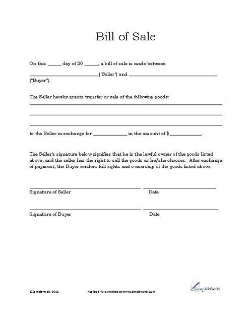 Free Printable Vehicle Bill of Sale Template Form (GENERIC - free business bill of sale template